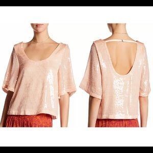 FREE PEOPLE Sequin Medium Cropped Top